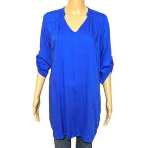 Cottonworld M Royal Blue Tunic Top or Dress V Neck